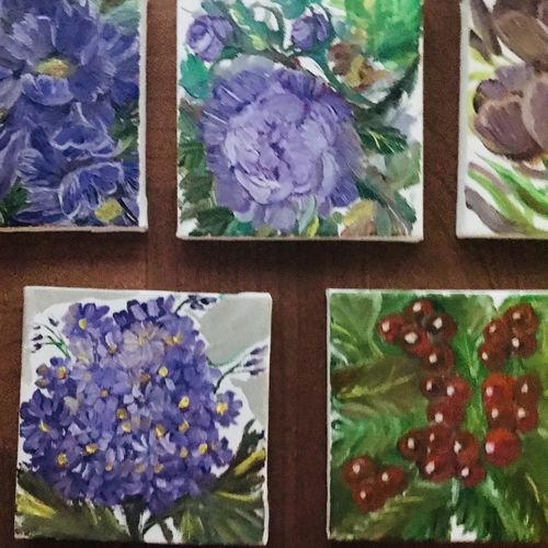 blooms, 20 x 20 inch, sandhya  jathar,paintings,nature paintings,paintings for bedroom,canvas,oil,20x20inch,GAL0443210075Nature,environment,Beauty,scenery,greenery