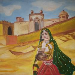 rajastani women, 30 x 22 inch, patnam kumar,paintings,folk art paintings,paintings for living room,canvas,acrylic color,30x22inch,GAL0438610077