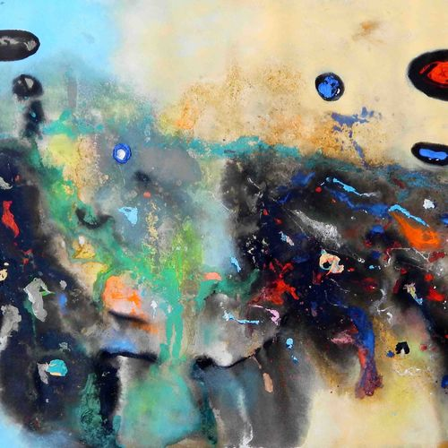 uneverse of clouds  , 50 x 25 inch, sandeep rawal ,paintings for dining room,abstract paintings,canvas,acrylic color,50x25inch,GAL0251110079
