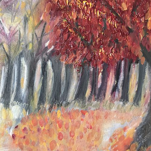 the fall, 16 x 14 inch, sandhya  jathar,paintings,nature paintings,paintings for living room,canvas,oil,16x14inch,GAL0443210104Nature,environment,Beauty,scenery,greenery