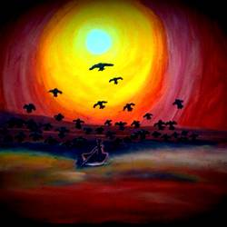 sunset, 13 x 11 inch, sukhabogi niharika,paintings,nature paintings,paintings for living room,thick paper,oil,13x11inch,GAL0443710109Nature,environment,Beauty,scenery,greenery,boat,sun,birds,sunset