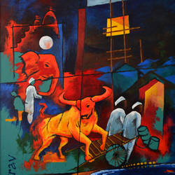 mumbai - insomniac, they call me.., 24 x 36 inch, sourav banerjea,paintings,abstract paintings,paintings for office,canvas,acrylic color,24x36inch,GAL0444010114