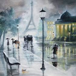 rainy street, 13 x 15 inch, kiran s,paintings,nature paintings,paintings for office,hardboard,watercolor,13x15inch,GAL0435610125Nature,environment,Beauty,scenery,greenery
