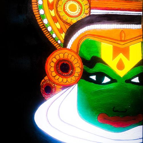 kathakali acrylic ., 787 x 1260 inch, athulya nair,paintings,folk art paintings,paintings for living room,thick paper,acrylic color,787x1260inch,GAL0445710134