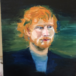 ed sheeran, 2 x 3 inch, rizwan  khan,figurative paintings,paintings for office,canvas,acrylic color,2x3inch,GAL0446910140