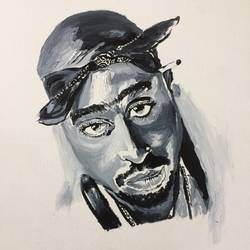 2 pac shakur, 2 x 3 inch, rizwan  khan,paintings,figurative paintings,paintings for office,canvas,acrylic color,2x3inch,GAL0446910141