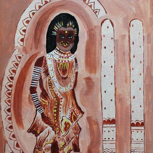tribal woman, 16 x 20 inch, shuchita srivastava,paintings,expressionist paintings,paintings for living room,canvas,acrylic color,16x20inch,GAL0398410149