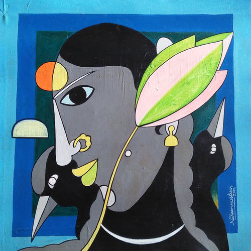 malli, 16 x 16 inch, naheem rustum,paintings,figurative paintings,paintings for living room,canvas,acrylic color,16x16inch,GAL034410151