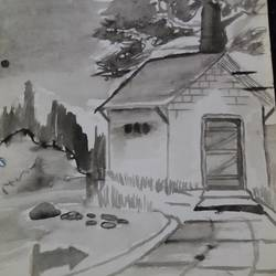 haunted house, 8 x 11 inch, shaikh khalid,paintings,nature paintings,paintings for bedroom,drawing paper,watercolor,8x11inch,GAL0448310153Nature,environment,Beauty,scenery,greenery