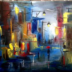 cityscape in oil, 6 x 8 inch, sweety singh,paintings,cityscape paintings,paintings for living room,thick paper,oil,6x8inch,GAL0234510159