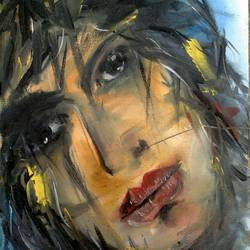 abstract art of a women in thought, 6 x 8 inch, sweety singh,paintings,abstract paintings,paintings for living room,thick paper,oil,6x8inch,GAL0234510160