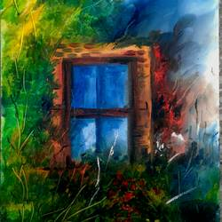 oil  of window and nature, 6 x 8 inch, sweety singh,paintings,nature paintings,paintings for living room,thick paper,oil,6x8inch,GAL0234510161Nature,environment,Beauty,scenery,greenery,window,grass,tress