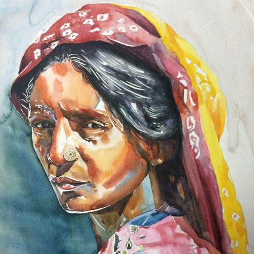 rajasthan, 22 x 18 inch, jai soni,paintings,portrait paintings,paintings for office,canson paper,watercolor,22x18inch,GAL0448610162