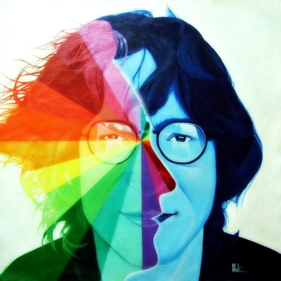 john lennon - color gradient technique, 24 x 24 inch, colorful art arts and crafts,figurative paintings,paintings for living room,canvas,acrylic color,24x24inch,GAL03931017