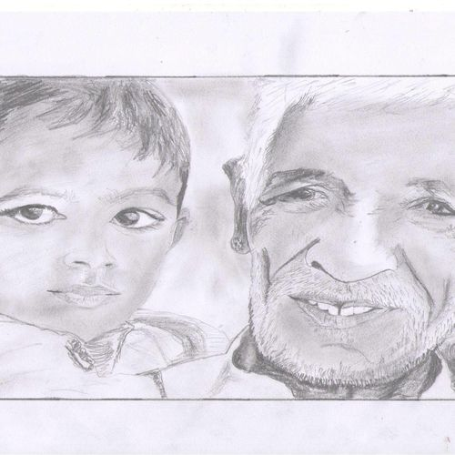 rajasthani grandfather with his grandchild, 8 x 12 inch, vp singh,drawings,figurative drawings,paintings for living room,paper,charcoal,8x12inch,GAL0449410175