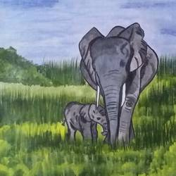baby and mother elephants , 18 x 20 inch, chindu sudheer,wildlife paintings,paintings for living room,paper,acrylic color,18x20inch,GAL0442210186