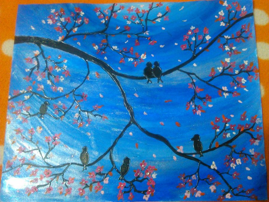 nature, 14 x 10 inch, harpreet kaur,nature paintings,paintings for living room,ivory sheet,fabric,14x10inch,GAL04391019Nature,environment,Beauty,scenery,greenery,birds,trees,branches,beautiful,leaves