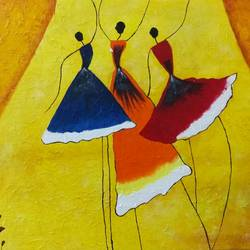 joy of dancing, 16 x 20 inch, sheeja  ranjit,paintings,abstract paintings,paintings for living room,canvas,acrylic color,16x20inch,GAL0451110191