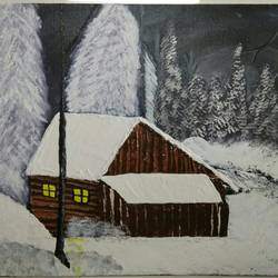 winter nights - abstract nature, 16 x 12 inch, sheeja  ranjit,paintings,nature paintings,paintings for bedroom,canvas board,acrylic color,16x12inch,GAL0451110193Nature,environment,Beauty,scenery,greenery,snow,house