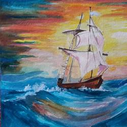 sinking ship, 14 x 12 inch, rajib das,paintings,nature paintings,paintings for bedroom,handmade paper,acrylic color,14x12inch,GAL0441310194Nature,environment,Beauty,scenery,greenery,sail,ship,waves,water