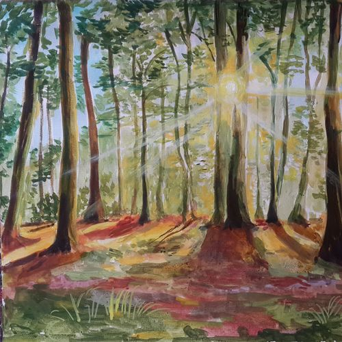 forest, 11 x 9 inch, rajib das,paintings,nature paintings,canvas,acrylic color,11x9inch,GAL0441310199Nature,environment,Beauty,scenery,greenery