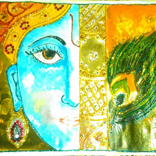 krishna, 10 x 8 inch, harpreet kaur,religious paintings,paintings for living room,radha krishna paintings,ivory sheet,fabric,10x8inch,GAL04391020