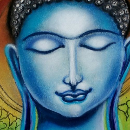 the enlightened one, 11 x 14 inch, ananya kundu,paintings,buddha paintings,paintings for living room,cartridge paper,pastel color,11x14inch,religious,peace,meditation,meditating,gautam,goutam,buddha,blue,face,smiling,GAL0437110200