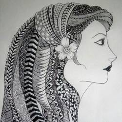 woman hair knotting style, 10 x 14 inch, ananya kundu,drawings,figurative drawings,paintings for living room,cartridge paper,ink color,10x14inch,GAL0437110201