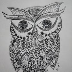a cute owl, 10 x 14 inch, ananya kundu,drawings,paintings for dining room,figurative drawings,cartridge paper,ink color,10x14inch,GAL0437110204