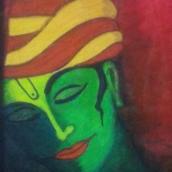 acrylic krishna, 9 x 13 inch, pranoti mulay,abstract paintings,paintings for living room,canvas,acrylic color,9x13inch,GAL0451610206