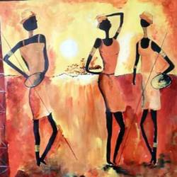 affordable  : african wildeness, 18 x 18 inch, mamta singh,folk art paintings,paintings for living room,thick paper,acrylic color,18x18inch,GAL0424210214