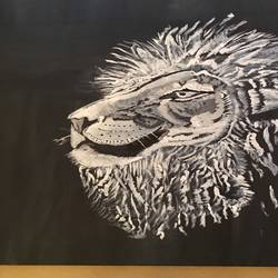 majestic lion , 18 x 18 inch, soumya kulkarni,paintings,wildlife paintings,paintings for living room,canvas,acrylic color,18x18inch,GAL0109910220