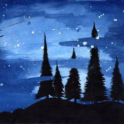 nightview, 11 x 8 inch, dhruv patel,paintings,landscape paintings,paintings for bedroom,paper,watercolor,11x8inch,GAL0452810222