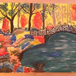 walk in the park, 16 x 24 inch, soumya kulkarni,paintings,abstract paintings,paintings for dining room,canvas,acrylic color,16x24inch,GAL0109910223