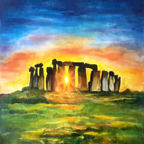 sunset through stonehenge, 15 x 11 inch, rajib das,paintings,nature paintings,paintings for bedroom,handmade paper,acrylic color,15x11inch,GAL0441310226Nature,environment,Beauty,scenery,greenery