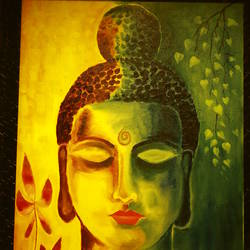 budha, 17 x 23 inch, litto antony,buddha paintings,paintings for living room,canvas,acrylic color,17x23inch,religious,peace,meditation,meditating,gautam,goutam,buddha,yellow,green,leafs,flowers,face,GAL0454710228