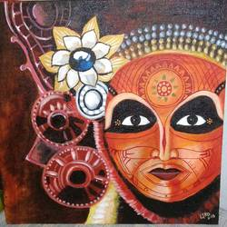 theyyam, 12 x 12 inch, litto antony,paintings,abstract paintings,paintings for living room,canvas,acrylic color,12x12inch,GAL0454710229