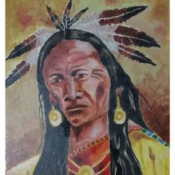 red indian, 15 x 20 inch, litto antony,paintings,abstract paintings,paintings for living room,canvas,acrylic color,15x20inch,GAL0454710231