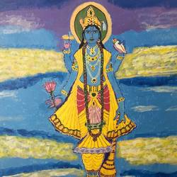 shri maha vishnu, 16 x 20 inch, kamala gopalakrishnan,paintings,religious paintings,paintings for living room,canvas,acrylic color,16x20inch,GAL0454810235