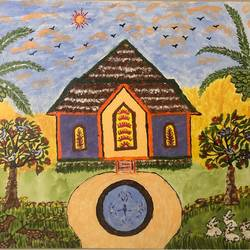 scenary, 16 x 20 inch, kamala gopalakrishnan,paintings,nature paintings,paintings for dining room,canvas,acrylic color,16x20inch,GAL0454810236Nature,environment,Beauty,scenery,greenery,house,fountain,garden,birds,sun,coconut tree