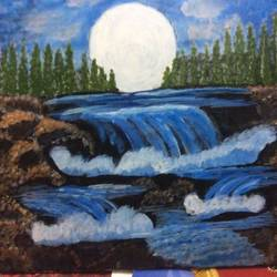 waterfalls, 16 x 20 inch, kamala gopalakrishnan,paintings,nature paintings,paintings for dining room,canvas,acrylic color,16x20inch,GAL0454810237Nature,environment,Beauty,scenery,greenery,flow,waterfalls,water