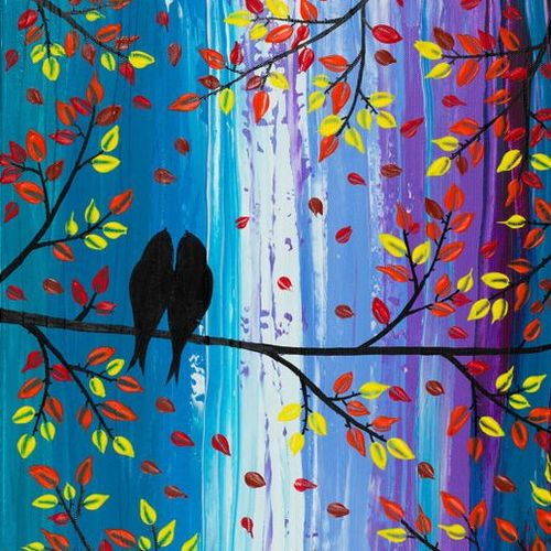 birds on tree, 14 x 10 inch, harpreet kaur,nature paintings,paintings for bedroom,ivory sheet,fabric,14x10inch,GAL04391024Nature,environment,Beauty,scenery,greenery,trees,birds,beautiful,leaves,love,together
