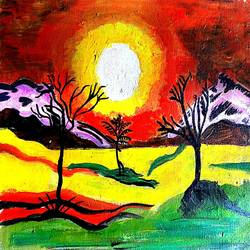 the sunset, 12 x 10 inch, abhik mahanti,paintings,flower paintings,paintings for living room,canvas,acrylic color,12x10inch,GAL0404410240