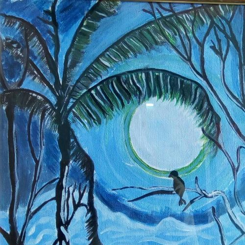 the night tree, 12 x 16 inch, abhik mahanti,paintings,landscape paintings,paintings for living room,canvas,acrylic color,12x16inch,GAL0404410247