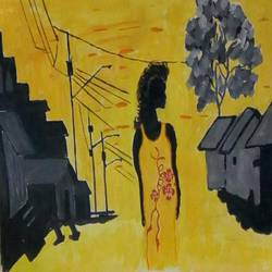 the girl in the city, 16 x 12 inch, abhik mahanti,paintings,figurative paintings,paintings for living room,canvas,acrylic color,16x12inch,GAL0404410248