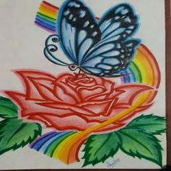 butterfly on flower, 8 x 12 inch, anisha.p babu,drawings,kids drawings,paintings for living room,drawing paper,pencil color,8x12inch,GAL0455910253