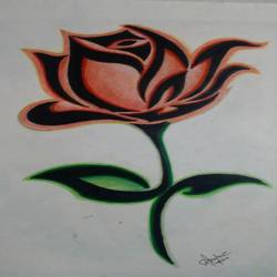 rose, 8 x 12 inch, anisha.p babu,drawings,kids drawings,paintings for living room,drawing paper,pencil color,8x12inch,GAL0455910254