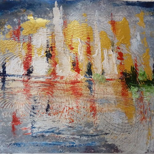 boat in a lake, 15 x 12 inch, kamta prasad sahu,paintings,abstract paintings,paintings for living room,canvas,mixed media,15x12inch,GAL0427410255