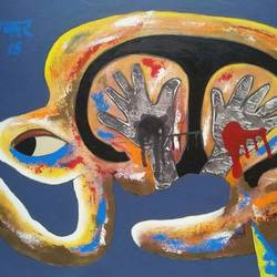 good and bad desire, 39 x 29 inch, yashpal gambhir,paintings,abstract paintings,paintings for living room,canvas,acrylic color,39x29inch,GAL0446710262