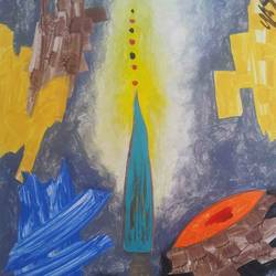 devotion shaken in utrakhand-4 , 22 x 30 inch, yashpal gambhir,paintings,abstract paintings,paintings for living room,paper,acrylic color,22x30inch,GAL0446710267